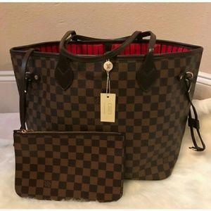Louis Vuitton Neverfull MM Ebene Tote Bag Set 2pcs